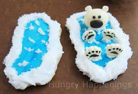 polar bear cookies decorated with modeling chocolate