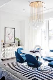 design inspo of the day this graphic blue and white dining room