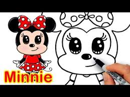 draw disney minnie mouse cute step step easy