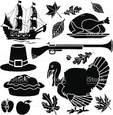 black and white thanksgiving clipart pilgrim thanksgiving icons stock vector art 166080897 istock