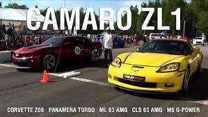 camaro zl1 vs corvette zr1 camaro zl1 corvette z06 panamera turbo ml63 amg cls 63 amg