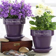 personalized flower pot family name personalized purple flower pot for the home