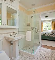 smart ideas to enhance small bathroom shower designoursign washstand plus water tap under mirror armoire aside glass cubical shower equipped with rain showerhead