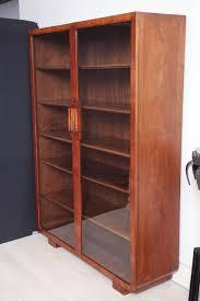 Wooden Cabinet With Glass Doors Deco Walnut Cabinet With Glass Doors And Wood Shelves For