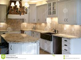 kitchen wood cabinets stainless refrigerator stock photography