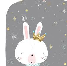 bunny christmas holiday cards with real glitter crown