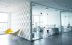 Modern Office Space Design Love The Circular Textured Wall Would - Contemporary office interior design ideas