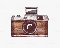 photo camera vintage engraved hand drawn in sketch or wood cut