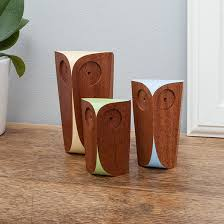 trio of handmade sapele wood owls hatched creative