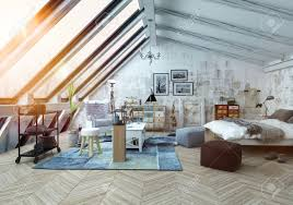 sunlight shining into modern hipster style loft bedroom covered