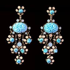 dangly earrings konplott turquoise resin opaline pierced dangly earrings