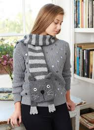 tabby cat scarf extract from knitted animal scarves mitts and