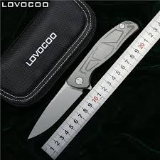 folded steel kitchen knives lovocoo new top f95 flipper folding knife d2 steel tc4 titanium s