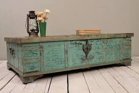 Chest Coffee Table Turquoise Green Reclaimed Salvaged Antique Indian Wedding Trunk