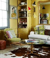 Yellow Living Room Rugs Jb197 05 Yellow Living Room With Cow Hide Rug And Ret