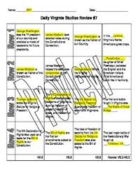 virginia studies daily review worksheet 7 and key vs 6 by