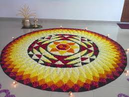 ugadi decorations at home pookkalam mandala made from flower petals patterns pinterest