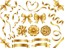 gold ribbons a set of assorted gold ribbons free vector stock