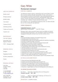 Restaurant Manager Resume Template Restaurant Manager Cv Sle