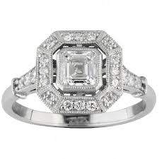 asscher cut diamond cluster ring in the art deco style