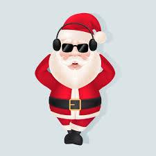santa claus santa claus in headphones and sunglasses vector free