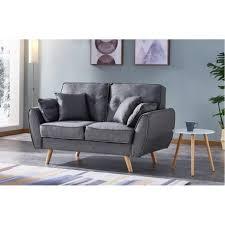pieds canapé canapé 2 places tissu gris pieds bois scandinave