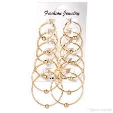 gold earrings for women design creole hoop earrings vintage gold color big circle earrings