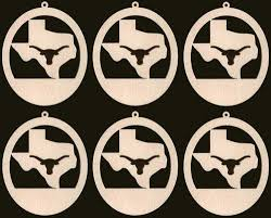 6 longhorn ornaments 4 inches unfinished craft wood