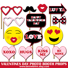 Swiss Flag Emoji Happy Valentines Day Photo Props Printable Photo Booth Props