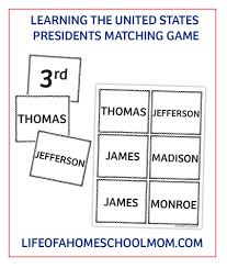 Presidents Of The United States Learning The United States Presidents Study Pack U0026 Matching Game