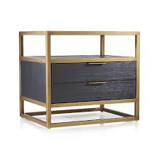 Black Wood Nightstand 2 Drawer Black Wood Brass Nightstand