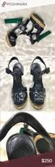 tory burch labella sandals green heels and dark navy blue