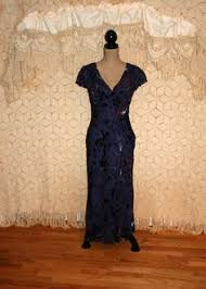vintage 80s retro 20s dress royal blue beaded silk dress art deco