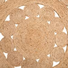 Round Flower Rug by Madras Flower 155cm Round Rug Natural