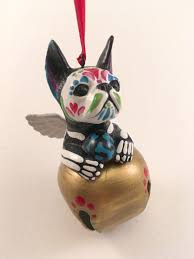 day of the dead french bulldog bell ornament boston terrier