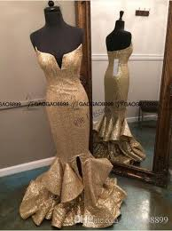 Photo Sparkly Spaghetti Straps Mermaid Long Gold Prom Dresses 2016