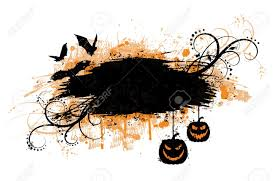 grunge halloween banner with bats and pumpkins royalty free