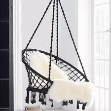 macrame hammock chair swing madrid black black esther u0026 co