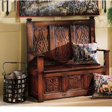 design toscano historic monk u0027s storage wood bench u0026 reviews wayfair
