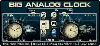 clock themes for android mobile big analog clock theme for nokia c3 00 x2 01 205 asha 200 201