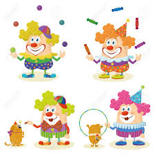 clowns juggling balls set of cheerful circus clowns in colorful clothes juggling