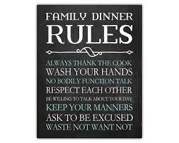 Family Dinner Rules Funny Home Decor Chalkboard Wall Decor - Funny home decor