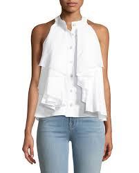 sleeveless ruffle blouse caroline constas adrie button front sleeveless ruffled poplin