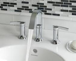 Black Modern Bathroom Sink Black And White Mosaic Backsplash With Elegant Faucets Using White