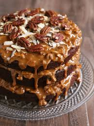 chocolate cola cake with dulce de leche coconut and pecan icing