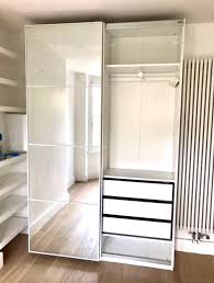 White Bedroom Wardrobes Ikea Ikea Pax Wardrobe With Sliding Mirror U0026 Hasvik Glass Doors Coordi