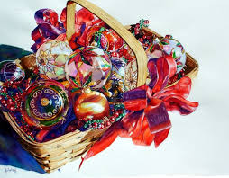 basket of ornaments 31 x 36 joyce k joyce