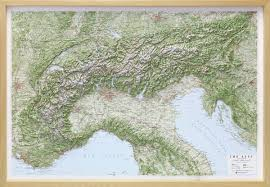 Alps On A Map Raised Relief Map Alps 1 1 000 000 As 3d Map