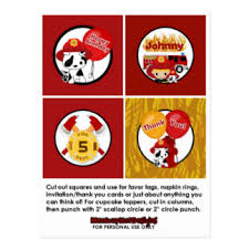 firefighter cupcake toppers firetruck postcards zazzle