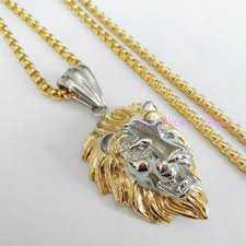 free gold necklace images High quality silver gold tone lion head pendant men 39 s necklace jpg